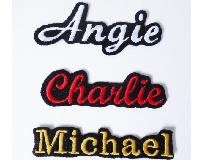 "Custom Embroidered Name Patch Felt Iron-On Felt Patches - Choose From 3"" - 13"" long"