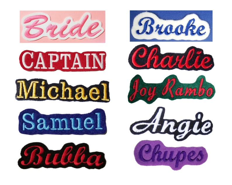 Custom Embroidered Name Tag Text ID Felt Iron On Patches  image 0