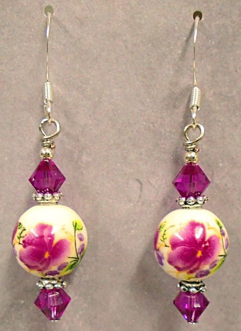 Fuchsia Purplish Pink Peony Flower Ceramic & Swarovski Crystal image 0