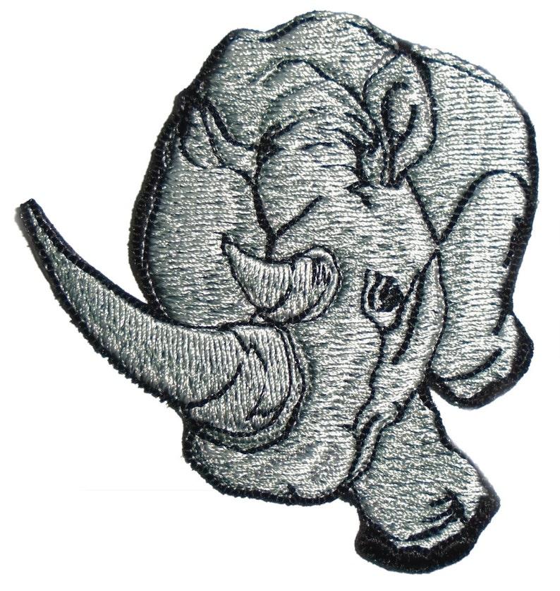 Embroidered Gray Rhino Rhinoceros Animal Iron On Applique image 0