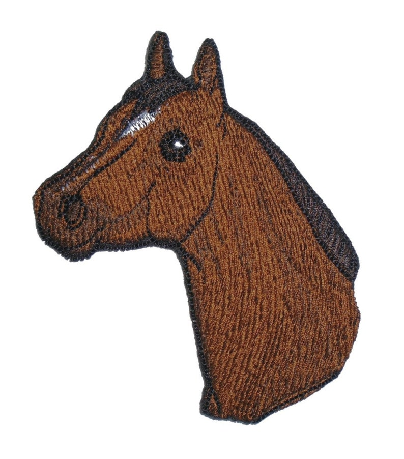 Embroidered Brown Quarter Horse Head Animal Iron On Applique image 0