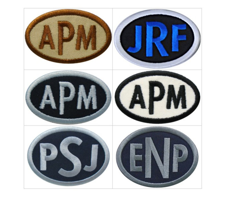 Customize Embroidered Oval Block Font Name Initial Monogram image 0