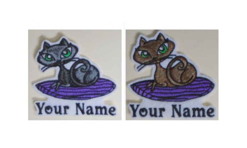 Pampered Feline Kitty Cat Embroidered Add Your Name Iron-On image 0