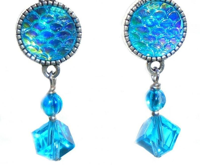 Aqua Blue Mermaid Scale Resin Crystal Glass Bead Earring Set image 0