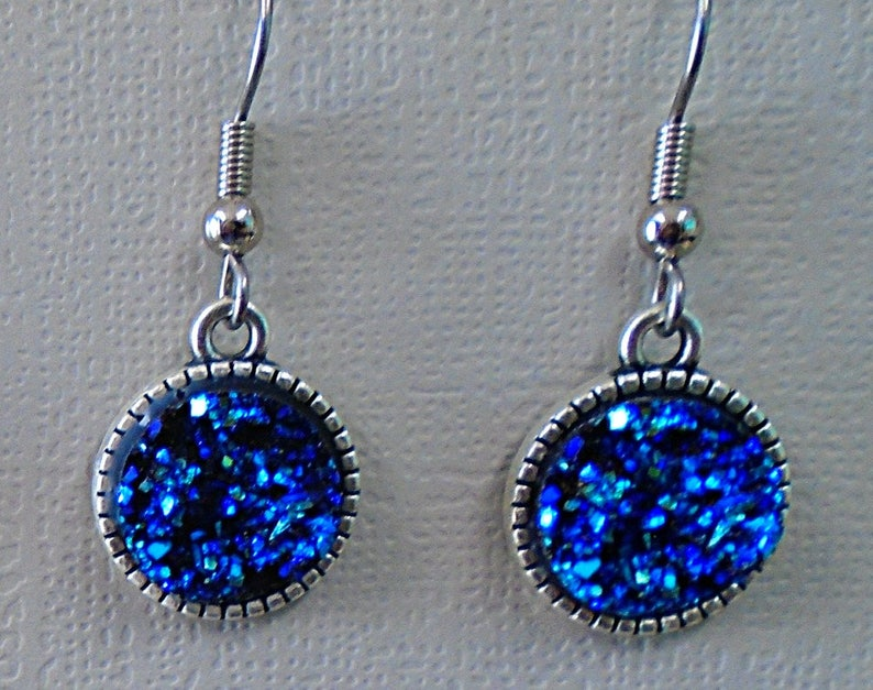 Blue Iridescent Faux Druzy 12mm Cabochon Earring Set Fish image 0