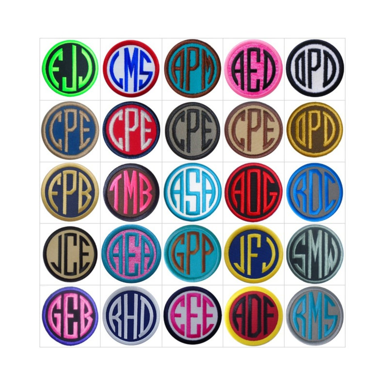 Customize Embroidered Circle Font Name Initial Monogram Iron image 0