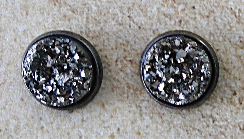 Pewter Grey Faux Druzy Stud Post Gunmetal Earring Set image 0