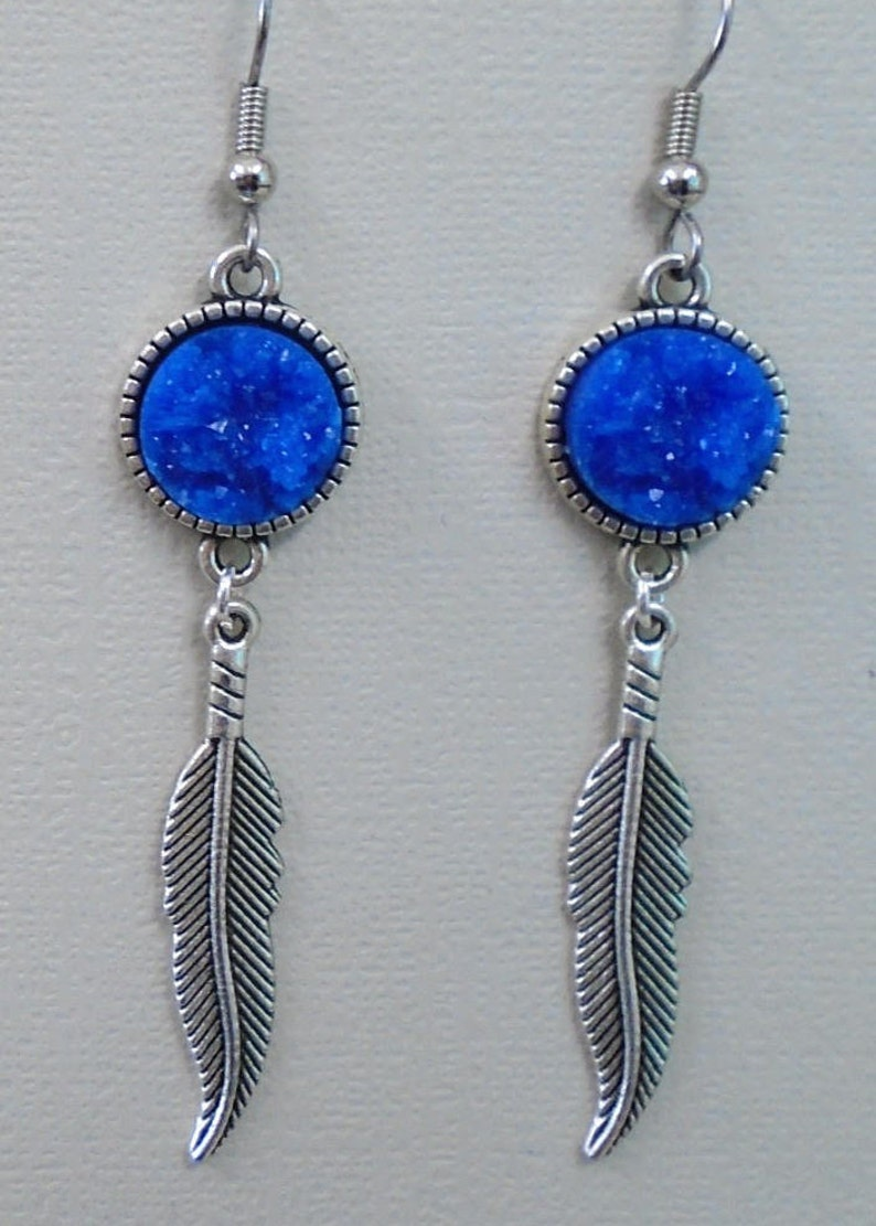 Feather Charm & Blue Faux Druzy 12mm Cabochon Earring Set image 0