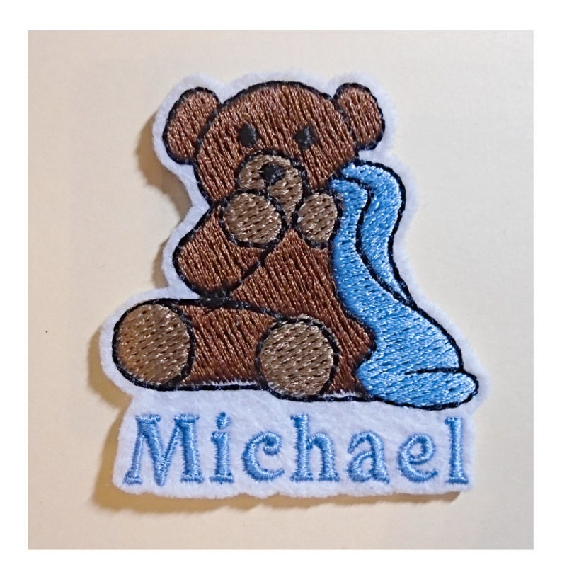 Teddy Bear With Blanket Embroidered Add Your Name Iron-On image 0