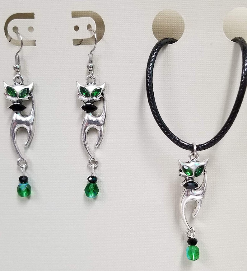 Green Eye Cat Charm Bead Earring Fish Hooks & Necklace Set image 0