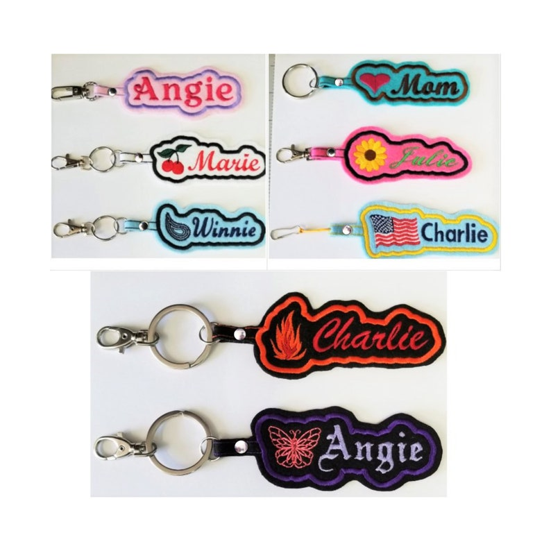 Personalized Embroidered Name ID Felt Fabric  Key-Chain image 0