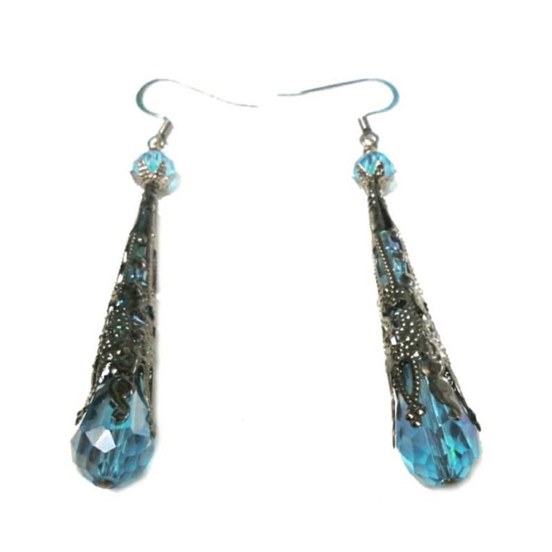 Medieval Filigree Gunmetal Black Aqua Cyan Blue Glass Bead image 0