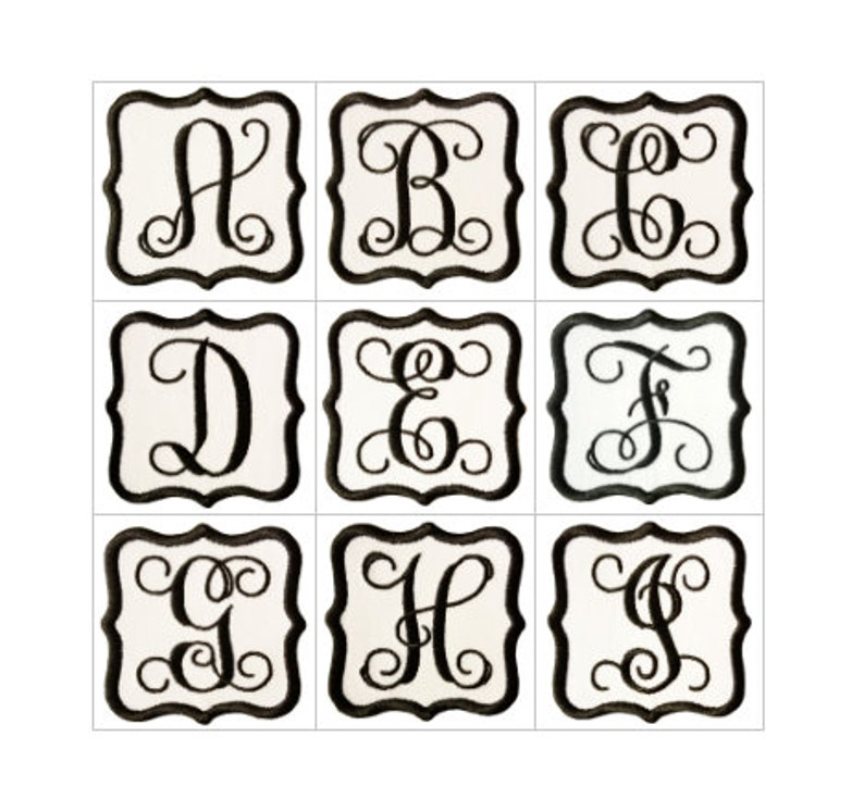 Vine Script Letter Monogram Iron On Patch Curvy Square Border image 0