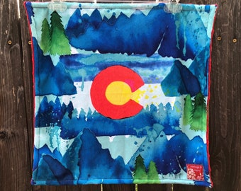 COLORADO baby blanket - CO double minky toddler security blankie - small blanky, woobie, lovey - 17 by 17 inch