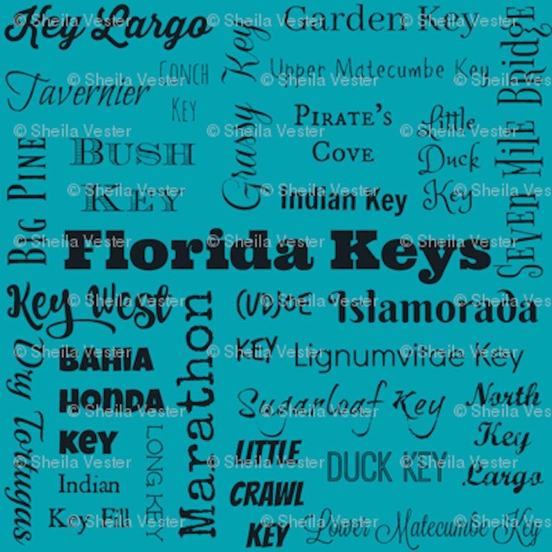 lime coral teal fq peach FLORIDA KEYS Cities fabric yardage yellow FL Keys typography fabric by the yard or fat quarter aqua gray