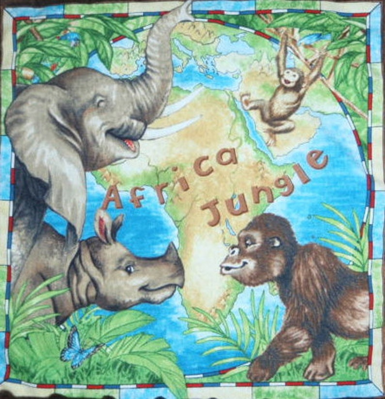 Map Of African Jungle.Small Minky Blanket African Jungle And Animal Baby Cuddle Etsy