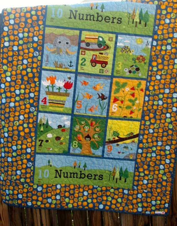 Numbers Baby Quilt In Spanish And French Wall Hanging Wall Etsy