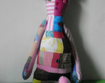 One Of A Kind Handmade Scrappy Patchwork Stuffed Bear - Made And Ready To Order