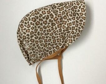 12-18 month Reversible Sun Bonnet LeopardBrown
