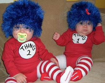 Thing 1 Thing 2 Crochet Hat Wig- TWO HATS- long hair royal blue- ready to ship