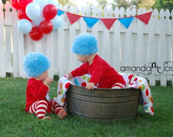 Thing 1 Thing 2 Crochet Hat Wig- TWO HATS- 5 colors to choose from- Short Hair Style