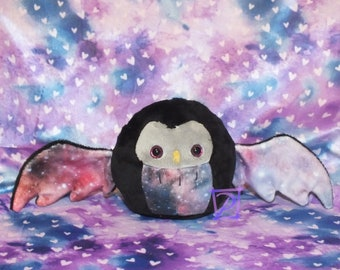 Galaxy Chibi Owl Plush with Pink Glitter Eyes in Black and Silver - Cute Gift - Big Wings - Office Desk Knick-Knack