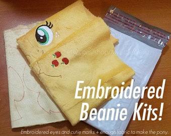 DIY Embroidered Beanie Plush Kit - Mare/Stallion Pony, Unicorn, & Pegasus - Craft
