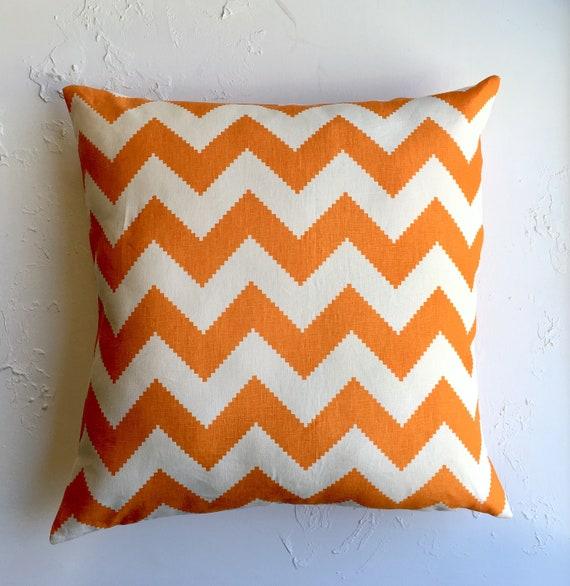 Orange Chevron Pillow Cover Large 24x24 Jonathan Adler Etsy