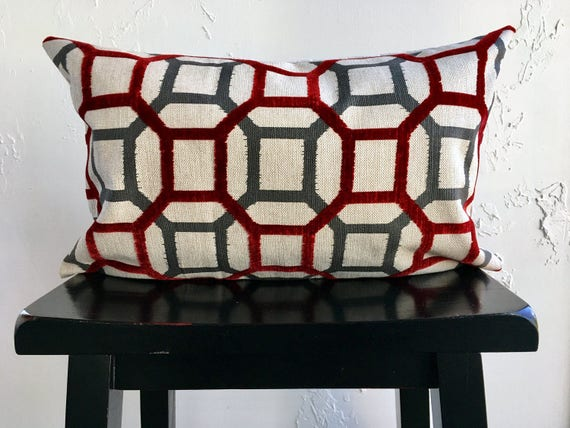 SET Geometric Pillow Covers Red Gray Retro Pillows 12x20 | Etsy