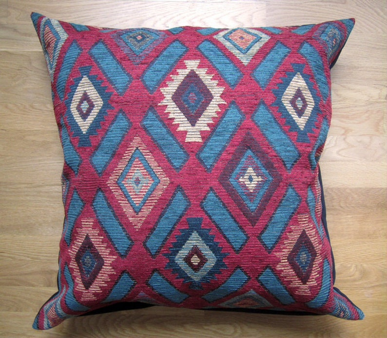 Boho Pillow Cover chenille Cushion Cover Large Decorative Pillow Cover 26x26 Teal Southwestern Floor Pillow Cover