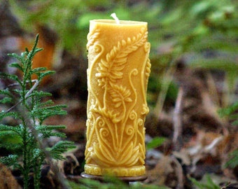 Fern Leaf Cylinder Beeswax Candle - Beeswax Pillar Candle  Pure Beeswax from Beekeepers Hives