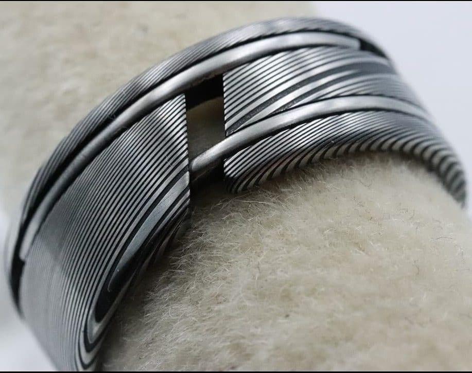 Damascus Steel Ring Woodgrain Ring Stainless Etsy