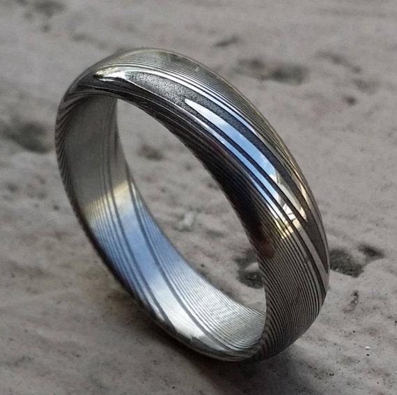 damascus steel ring stainless 5 25mm dark etsy