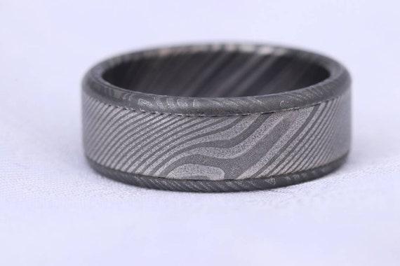 8mm wide black zrti & damasteel