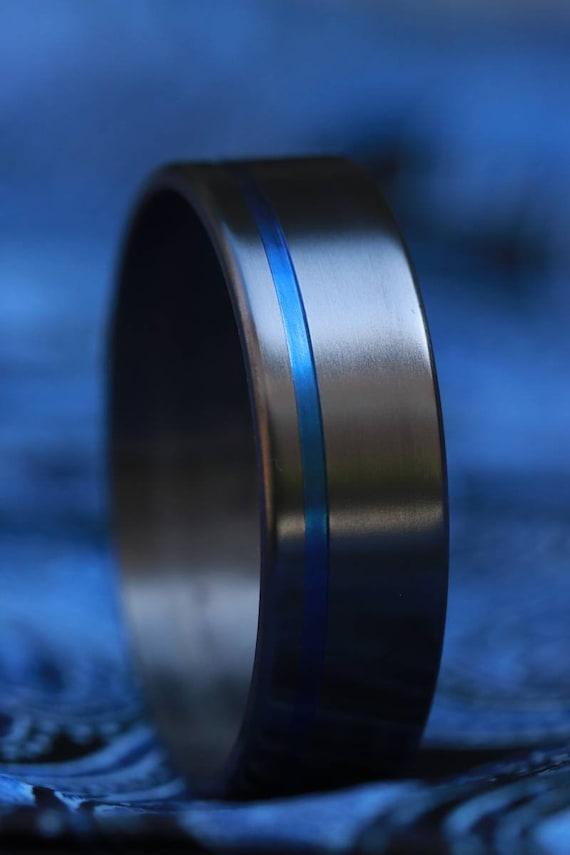 8mm zirconium ring black ring, light blue grooved ring