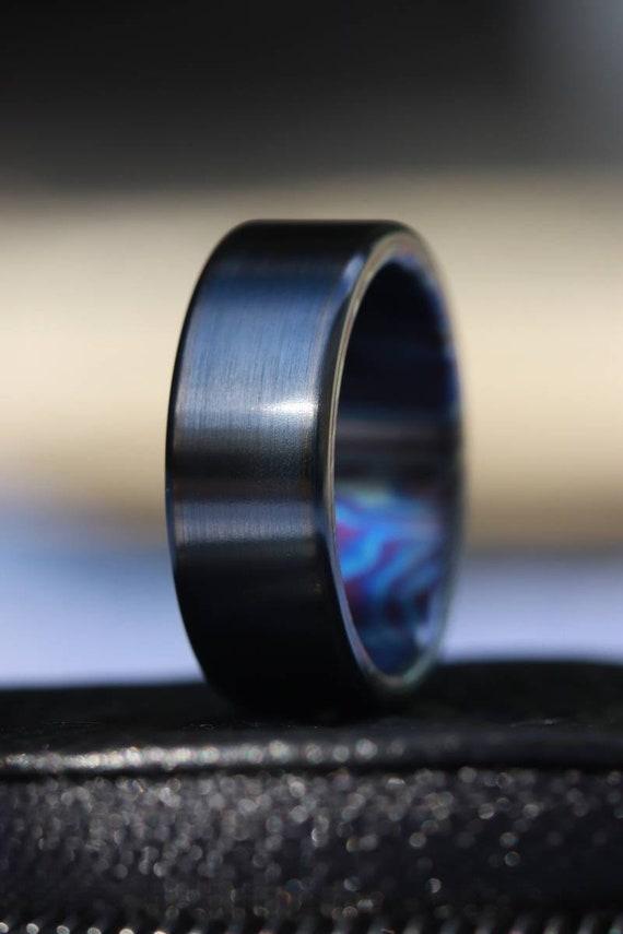 8mm black titanium ring Black / ZrTi brushed ziconium timascus ring,black timascus ring, mens rings weddingrings, zirconium damascus