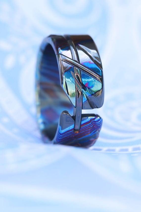 "Timascus ring ""ZrTi-LOAM"" handmade titanium zirconium (not casted) hypoallergenic ring, cross ring mens rings, womensrings timascus"