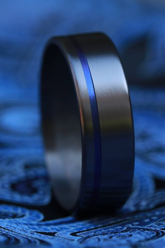8mm zirconium ring black ring, blue grooved ring