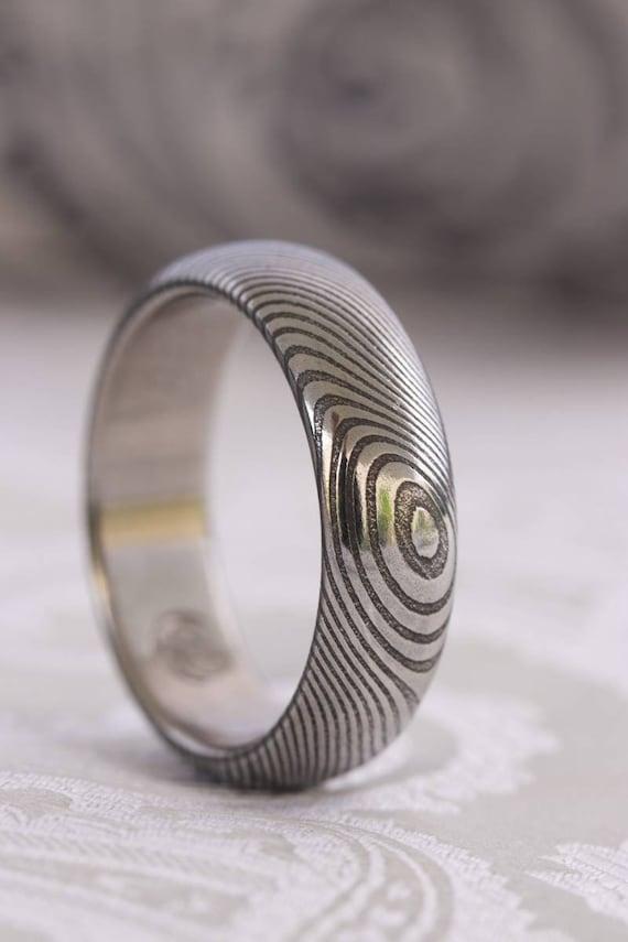 damasteel ring 6mm wave pattern mens rings