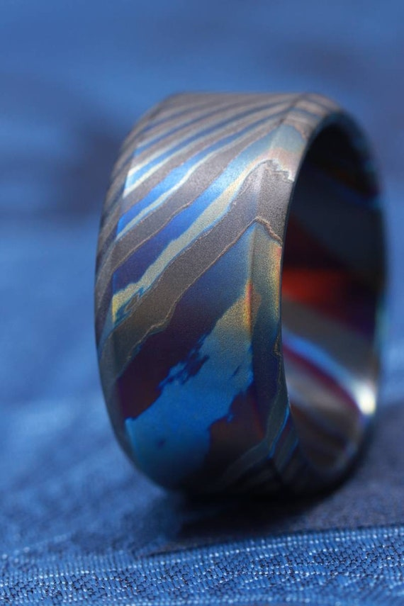 LIMITED EDITION***chamfered edge 10-12mm Black Timascus zrti ring  timascus ring, mokuti rring black timascus ring
