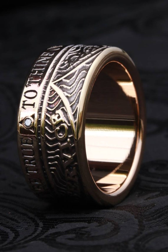 Recovery ring, sobriety ring, aa ring, na ring, 14k yellow gold