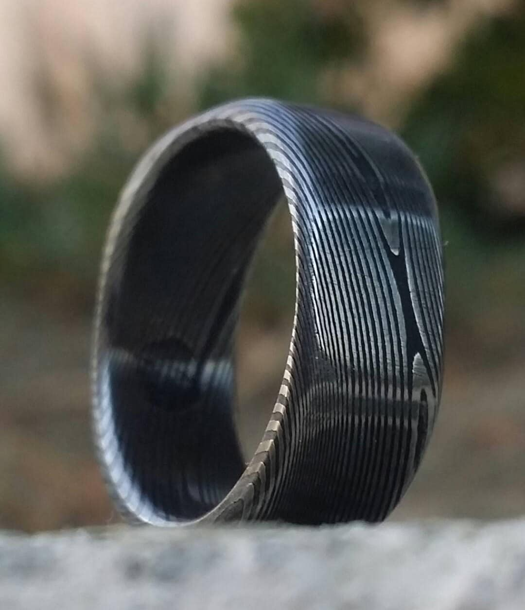square ring soft square stainless steel damascus woodgrain ring