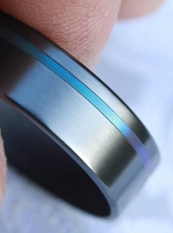 8mm zirconium ring black ring chameleon color, grooved ring