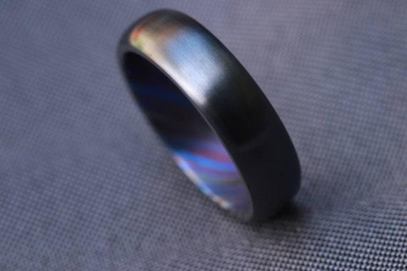 6mm domed black titanium ring Black / ZrTi brushed ziconium timascus ring,black timascus ring, mens rings weddingrings, zirconium damascus