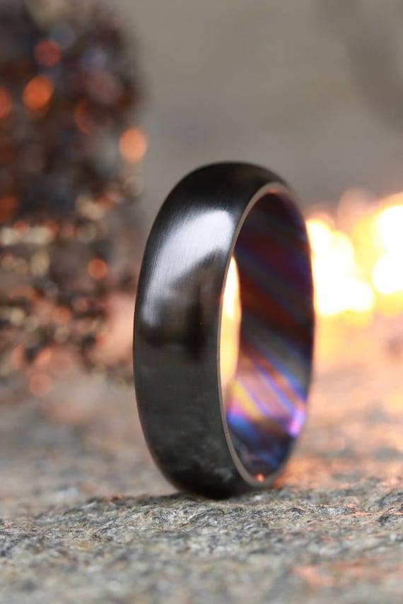 6mm domed black titanium ring Black / ZrTi  timascus ring,black timascus ring, mens rings weddingrings, zirconium damascus