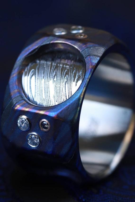 "New* The cube"" Limited Edition Series-12mm Timascus / Mokuti timascus & damasteel  ring,mens ring, mokuti ring, Damascus ring diamond ring"