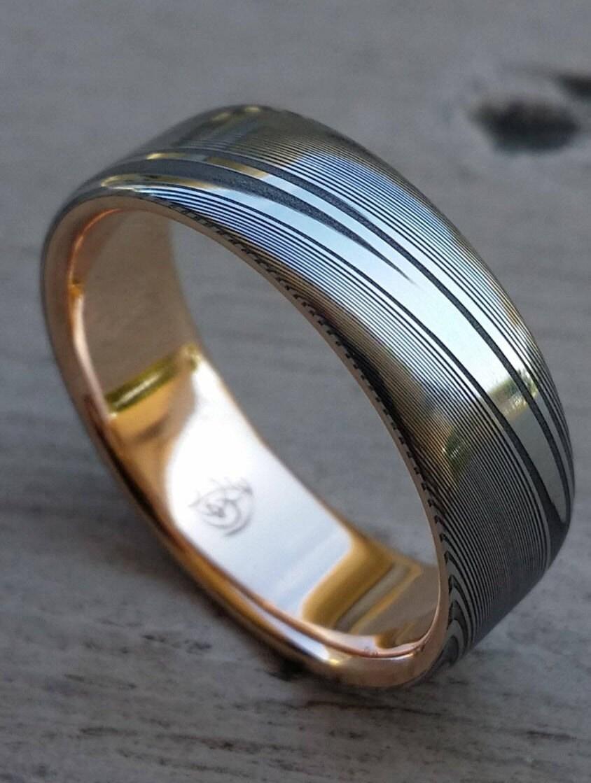 damascus steel ring 18k rose gold stainless damascus steel dark