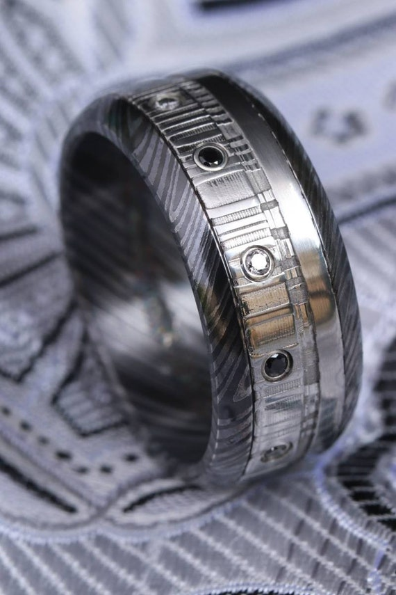 Black diamonds and gold,  black titanium zrti & damasteel ring 9mm wide customizable