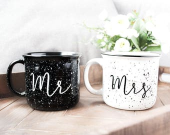 Mr. & Mrs. campfire mug set. Ceramic campfire mugs. Marriage mugs. Pretty mugs. White campfire mug. Newlywed gift. Stocking stuffer.
