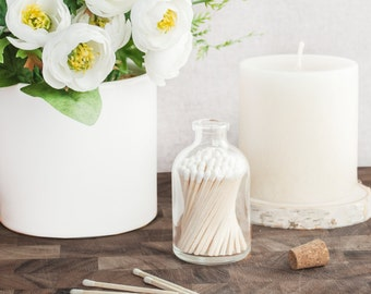 White tip colored matches. White Matchstick Jar™. White matches. Colored matches. Farmhouse decor. Gifts for her. Hostess gift. Home decor.